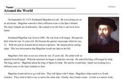 Print <i>Around the World</i> reading comprehension.