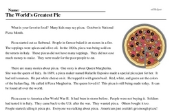 Print <i>The World's Greatest Pie</i> reading comprehension.