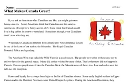 Print <i>What Makes Canada Great?</i> reading comprehension.