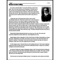 Print <i>Richard Jordan Gatling</i> reading comprehension.