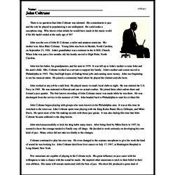 Print <i>John Coltrane</i> reading comprehension.