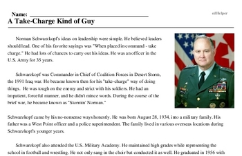 Norman Schwarzkopf<BR>A Take-Charge Kind of Guy