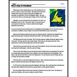 Print <i>Discovering Newfoundland</i> reading comprehension.