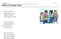 Print <i>Hooray for Family Meals</i> reading comprehension.