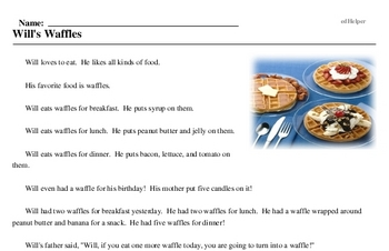 Print <i>Will's Waffles</i> reading comprehension.