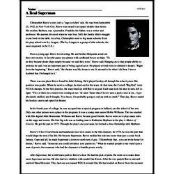 Print <i>A Real Superman</i> reading comprehension.