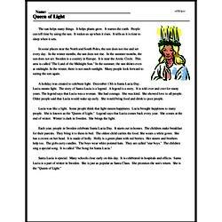 Print <i>Queen of Light</i> reading comprehension.