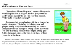 Print <i>Golf - A Game to Hate and Love</i> reading comprehension.