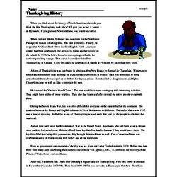Print <i>Thanksgiving History</i> reading comprehension.