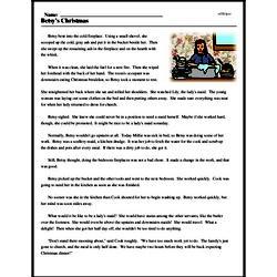 Print <i>Betsy's Christmas</i> reading comprehension.