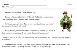 Print <i>Hobbit Day</i> reading comprehension.