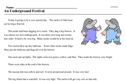 Print <i>An Underground Festival</i> reading comprehension.