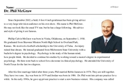 Phil McGraw<BR>Dr. Phil McGraw