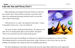 Print <i>Like the Sun and Moon, Part 1</i> reading comprehension.
