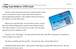 Print <i>Using Your Debit or ATM Card</i> reading comprehension.