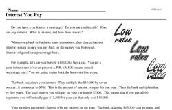 Print <i>Interest You Pay</i> reading comprehension.