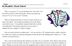 Print <i>Be Realistic About School</i> reading comprehension.
