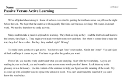 Print <i>Passive Versus Active Learning</i> reading comprehension.