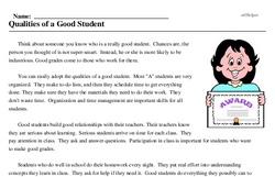 Print <i>Qualities of a Good Student</i> reading comprehension.