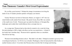 Print <i>Tom Thomson: Canada's First Great Expressionist</i> reading comprehension.