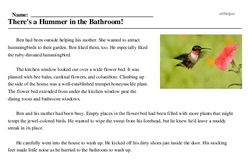 Print <i>There's a Hummer in the Bathroom!</i> reading comprehension.