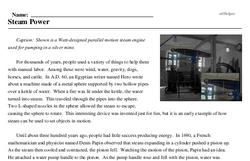 Print <i>Steam Power</i> reading comprehension.