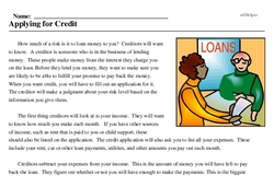Print <i>Applying for Credit</i> reading comprehension.