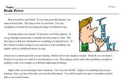 Print <i>Brain Power</i> reading comprehension.