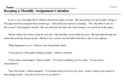 Print <i>Keeping a Monthly Assignment Calendar</i> reading comprehension.
