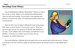 Print <i>Investing Your Money</i> reading comprehension.