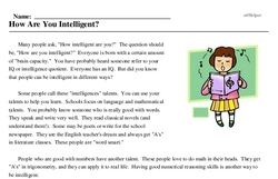 Print <i>How Are You Intelligent?</i> reading comprehension.