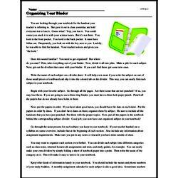 Print <i>Organizing Your Binder</i> reading comprehension.