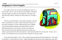Print <i>Shopping for School Supplies</i> reading comprehension.