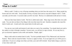 Print <i>What Is Credit?</i> reading comprehension.