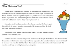 Print <i>What Motivates You?</i> reading comprehension.