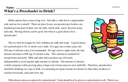 Print <i>What's a Preschooler to Drink?</i> reading comprehension.