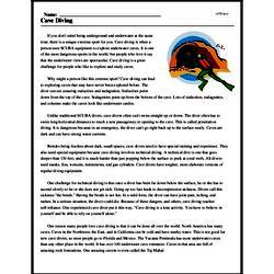 Print <i>Cave Diving</i> reading comprehension.