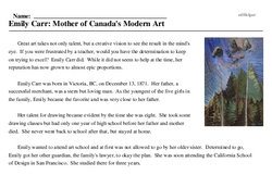 Print <i>Emily Carr: Mother of Canada's Modern Art</i> reading comprehension.