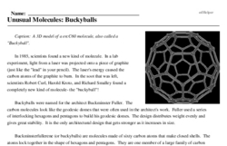 Print <i>Unusual Molecules: Buckyballs</i> reading comprehension.