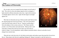 Print <i>The Science of Fireworks</i> reading comprehension.