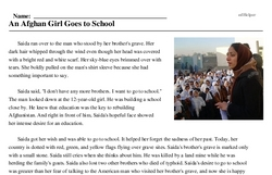 Print <i>An Afghan Girl Goes to School</i> reading comprehension.