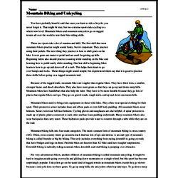 Print <i>Mountain Biking and Unicycling</i> reading comprehension.