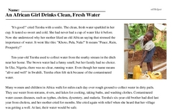 Print <i>An African Girl Drinks Clean, Fresh Water</i> reading comprehension.