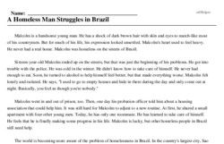 Print <i>A Homeless Man Struggles in Brazil</i> reading comprehension.