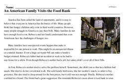 Print <i>An American Family Visits the Food Bank</i> reading comprehension.