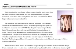 Print <i>Native American Drums and Flutes</i> reading comprehension.