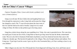 Print <i>Life in China's Cancer Villages</i> reading comprehension.