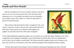 Print <i>Pencils and More Pencils!</i> reading comprehension.