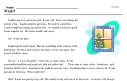 Print <i>Magic!</i> reading comprehension.