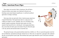 Print <i>Native American Peace Pipes</i> reading comprehension.